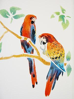 Pochoir perroquets multicolors