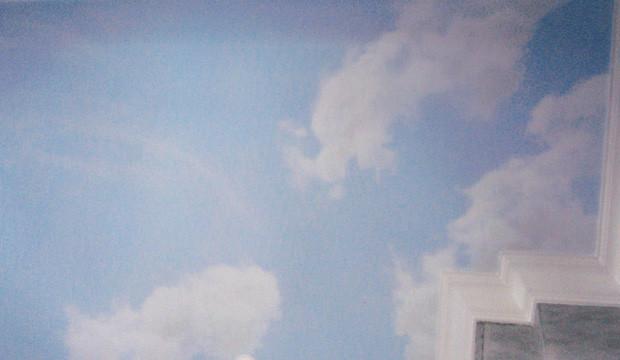 Trompe l'œil faux ciel sur un plafond chez un particulier