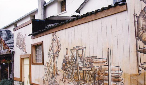 Peinture sur bois extérieur pour la boutique-atelier Cocktail Scandinave à Palaiseau